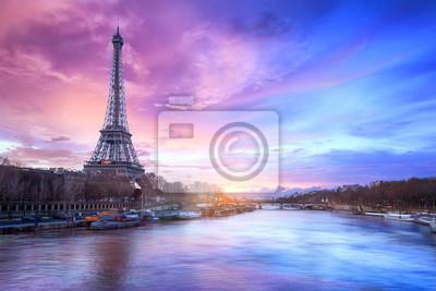 Fototapeta Sunset over the Seine river near Eiffel tower in Paris, France