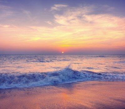 Fototapeta Sunset Twilight Dusk Beach Wave San Concept