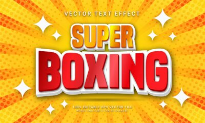 Fototapeta Super boxing editable text effect with world boxing competition theme