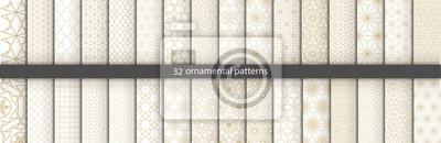 Fototapeta Super Duży zestaw 32 orientalnych wzorów. Białe i złote tło z arabskimi ornamentami. Wzory, tła i tapety do projektowania. Ozdoba tekstylna. Ilustracji wektorowych.
