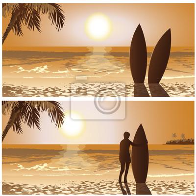 surf, sunset