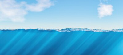 Fototapeta surface and underwater view of the sea. space for text.