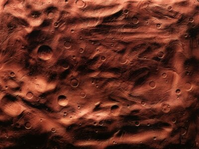 Fototapeta Surface of Mars with craters, impact craters on the surface of the red planet.