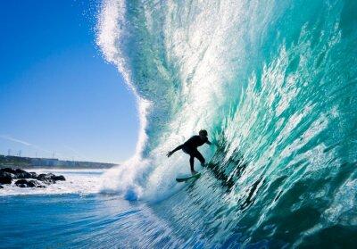 Fototapeta Surfer na Blue Ocean Wave