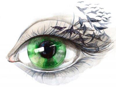 Fototapeta surrealistyczne oko na ścianę hipsterskiego pokoju