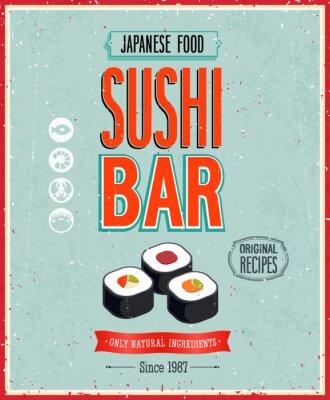 Fototapeta Sushi Bar w stylu vintage Plakat. Ilustracji wektorowych.