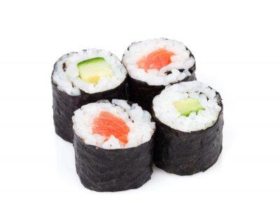 Fototapeta Sushi maki z łososiem i ustawić ogórka
