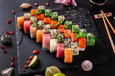 Fototapeta sushi on the black background