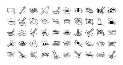Fototapeta sushi oriental menu icons set line style icon