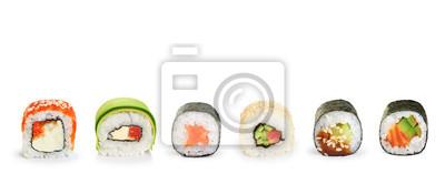 Fototapeta Sushi rolkach na białym tle.