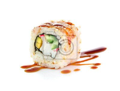 Fototapeta Sushi roll isolated on white background. California sushi roll with tuna, vegetables and unagi sauce closeup