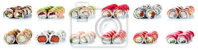 Fototapeta Sushi Rolls Set, maki, philadelphia and california rolls, on a white background.