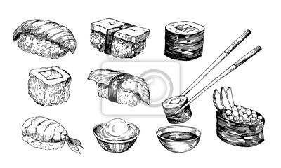 Fototapeta Sushi sketch. Hand drawn illustration converted to vector. Isolated on white background