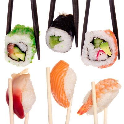 Fototapeta Sushi z pałeczki samodzielnie nad białym tle