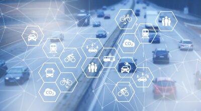 Fototapeta sustainable mobility concept: modern individual sustainable transportation alternatives, e-car, e-bike, scooter, car sharing - illustration