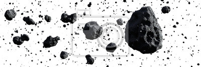 Fototapeta swarm of asteroids isolated on white background