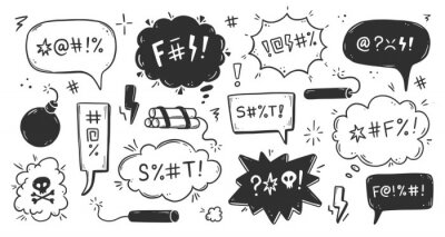 Fototapeta Swear word speech bubble set. Curse, rude, swear word for angry, bad, negative expression. Hand drawn doodle sketch style. Vector illustration.