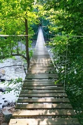 Fototapeta Swedish suspension bridge over Morrum river