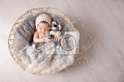 Fototapeta Sweet newborn baby sleeps in a basket. Beautiful newborn boy with bear toy. Copy space