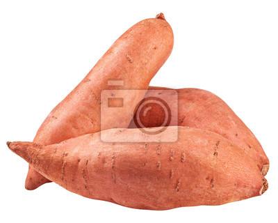 Fototapeta sweet potato, yam, isolated on white background, clipping path, full depth of field