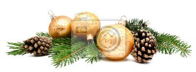 Fototapeta Świąteczne dekoracje choinkowe z szyszek jodły