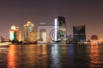 Światła, wieczór w Dubaju, Zjednoczone Emiraty Arabskie