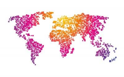 Fototapeta światowa mapa kwadraty kolor gradientu