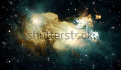 Fototapeta Świecąca ogromna mgławica z młodymi gwiazdami. Astronautyczny tło, 3d ilustracja