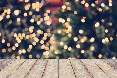 Fototapeta Święta Bożego Narodzenia w tle z pustym drewnianym stole
