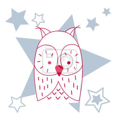 Święto Bożego Narodzenia i ilustracja słodkie sowa. Ilustracji wektorowych wyciągnąć rękę na kartkę z życzeniami lub plakat.