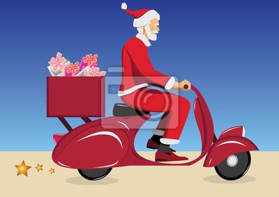 Święty Mikołaj na vintage czerwonym skuterze