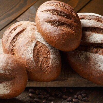 Fototapeta Świeże ciasto w mące z chleba żytniego