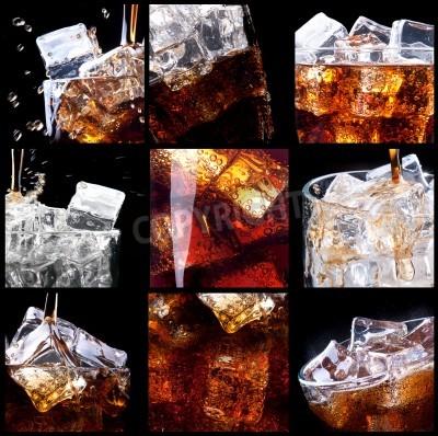 Fototapeta Świeże cola tła z powitalny i lodu