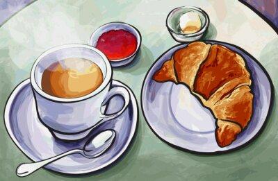 Fototapeta Świeże francuski śniadanie z Expresso kawy i rogalika w Wat