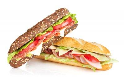 Fototapeta Świeże kanapki z mięsem i warzywami