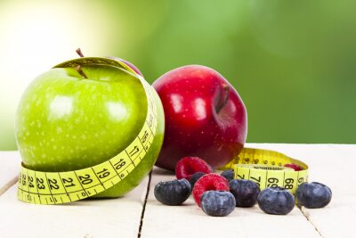 Fototapeta świeże owoce z pomiaru pojęcie zdrowej diety Cintra