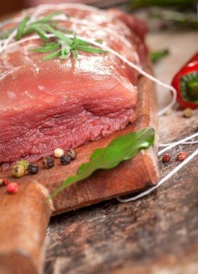Fototapeta Świeże Surowe mięso i rozmarynem