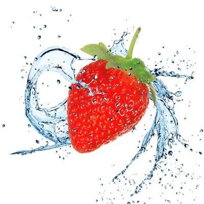 Fototapeta Świeże truskawki z odrobiną wody