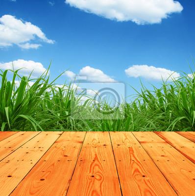 Świeże wiosny zielona trawa z nieba i podłogi z drewna tle