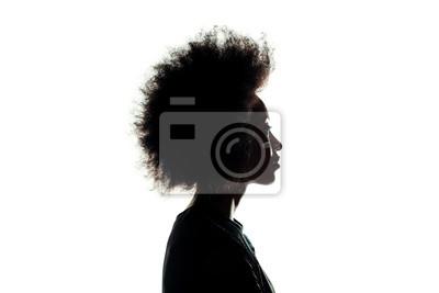 Fototapeta sylwetka african american kobieta z fryzura afro na białym tle