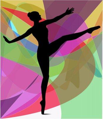 Fototapeta sylwetka di danzatrice su sfondo astratto