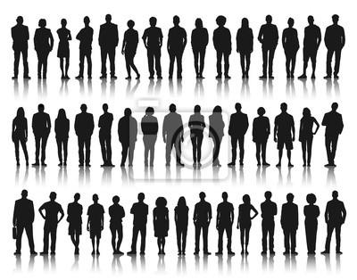 Fototapeta Sylwetka grupy ludzi stojących