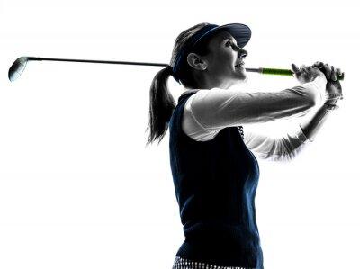Fototapeta Sylwetka kobiety golfista gra w golfa