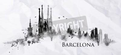 Fototapeta Sylwetka miasta Barcelona malowane plamy tuszu spadnie smugi zabytków rysunek czarnym tuszem na zmięty papier