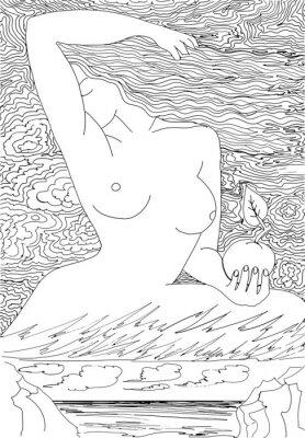 Fototapeta Sylwetka naga kobieta na niebie. Ręcznie rysowane wzory do barwienia. Odręczny szkic rysunek dla dorosłych antystresowy kolorowanka w stylu zentangle.