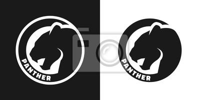 Fototapeta Sylwetka pantera, monochromatyczne logo.