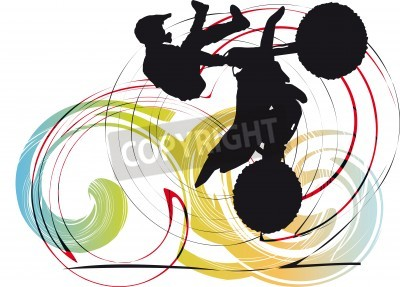 Fototapeta Sylwetka rowerzysty na abstrakcyjnym tle ilustracja