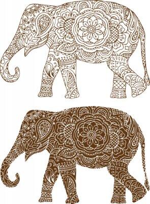 Fototapeta Sylwetka słonia w indyjskich wzorów mehendi