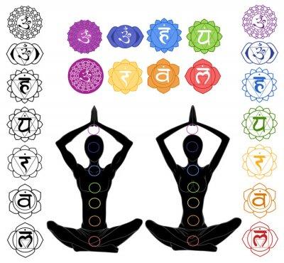 Fototapeta sylwetka w pozycji jogi z symbolami siedmiu czakr