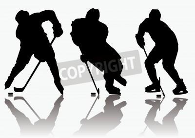 Fototapeta Sylwetki hokeistów na lodzie